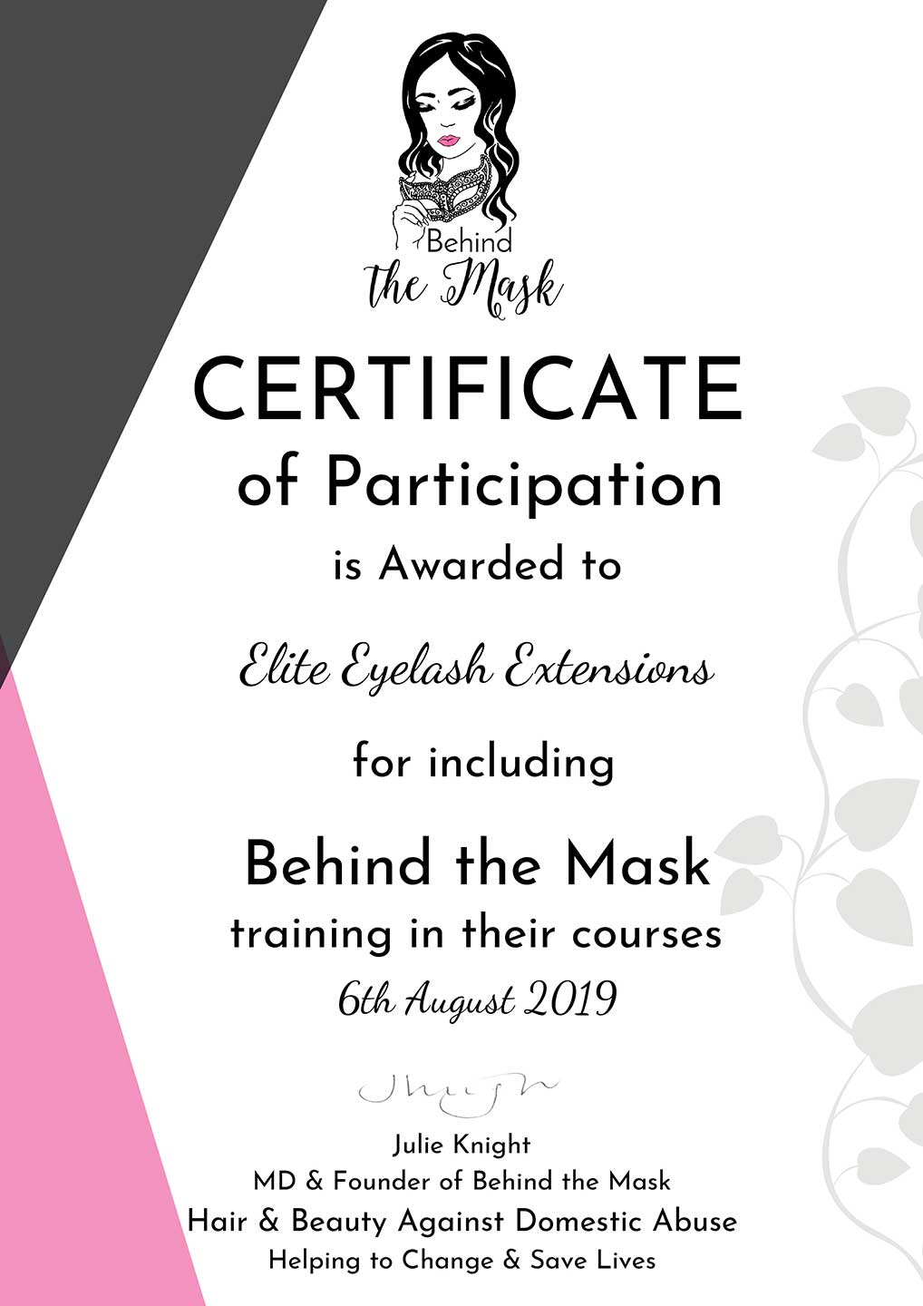 Elite-Eyelash-Extensions-Training-Academy-Behind-The-Mask-certificate-1