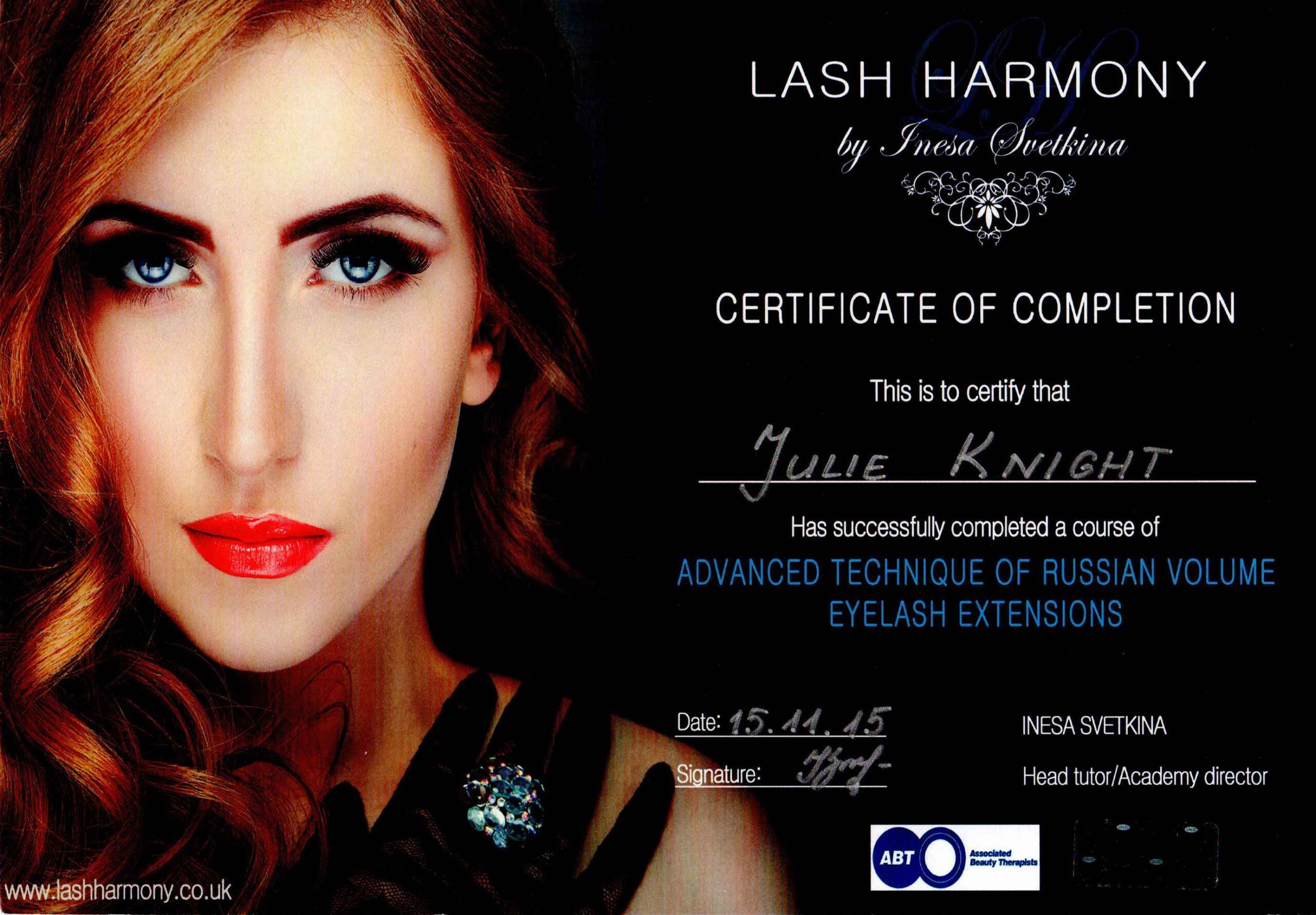 Julie-Knight-Lash-Harmony-Volume-Certificate