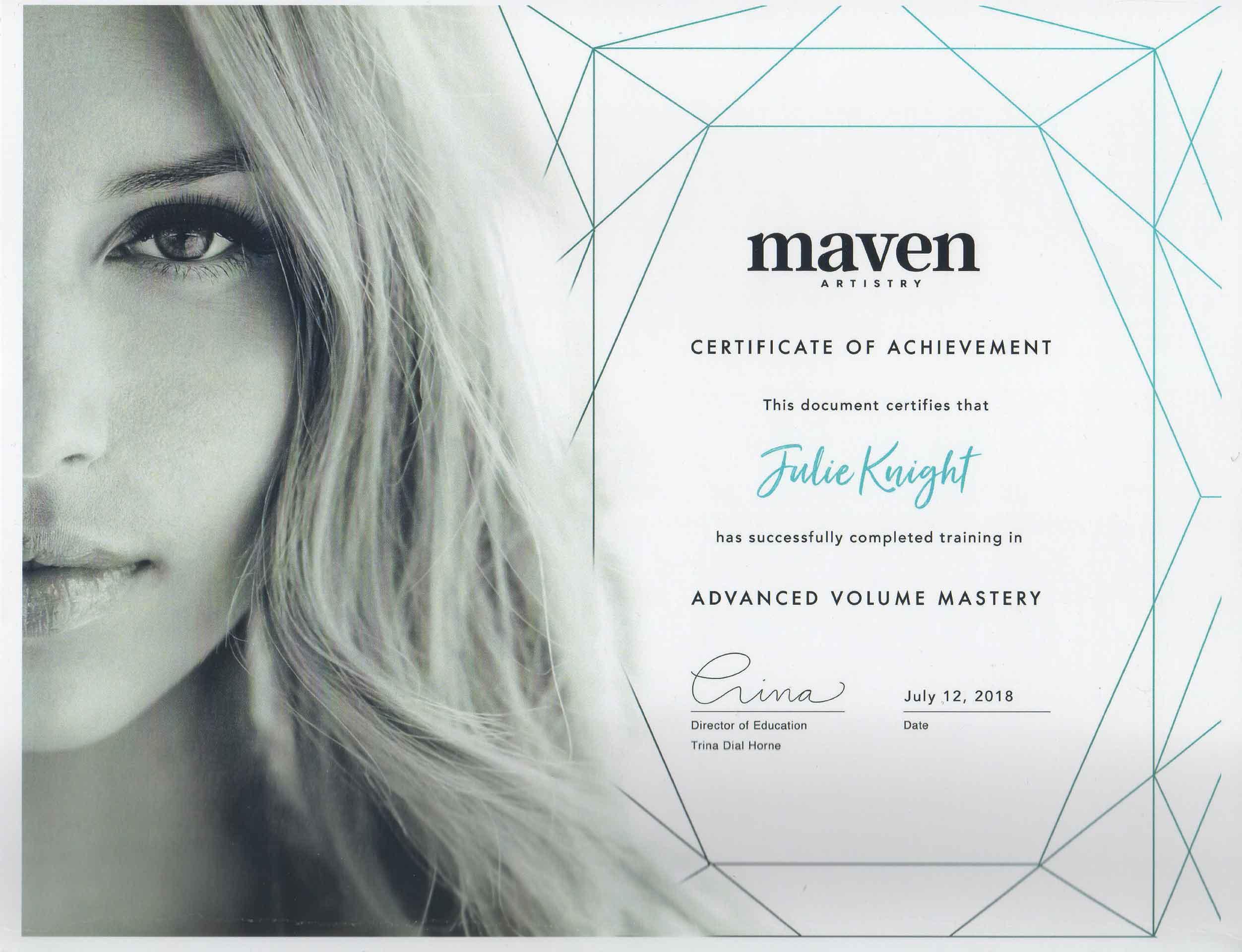 Julie-Knight-Maven-Artistry-Advanced-Volume-Artistry-Certificate