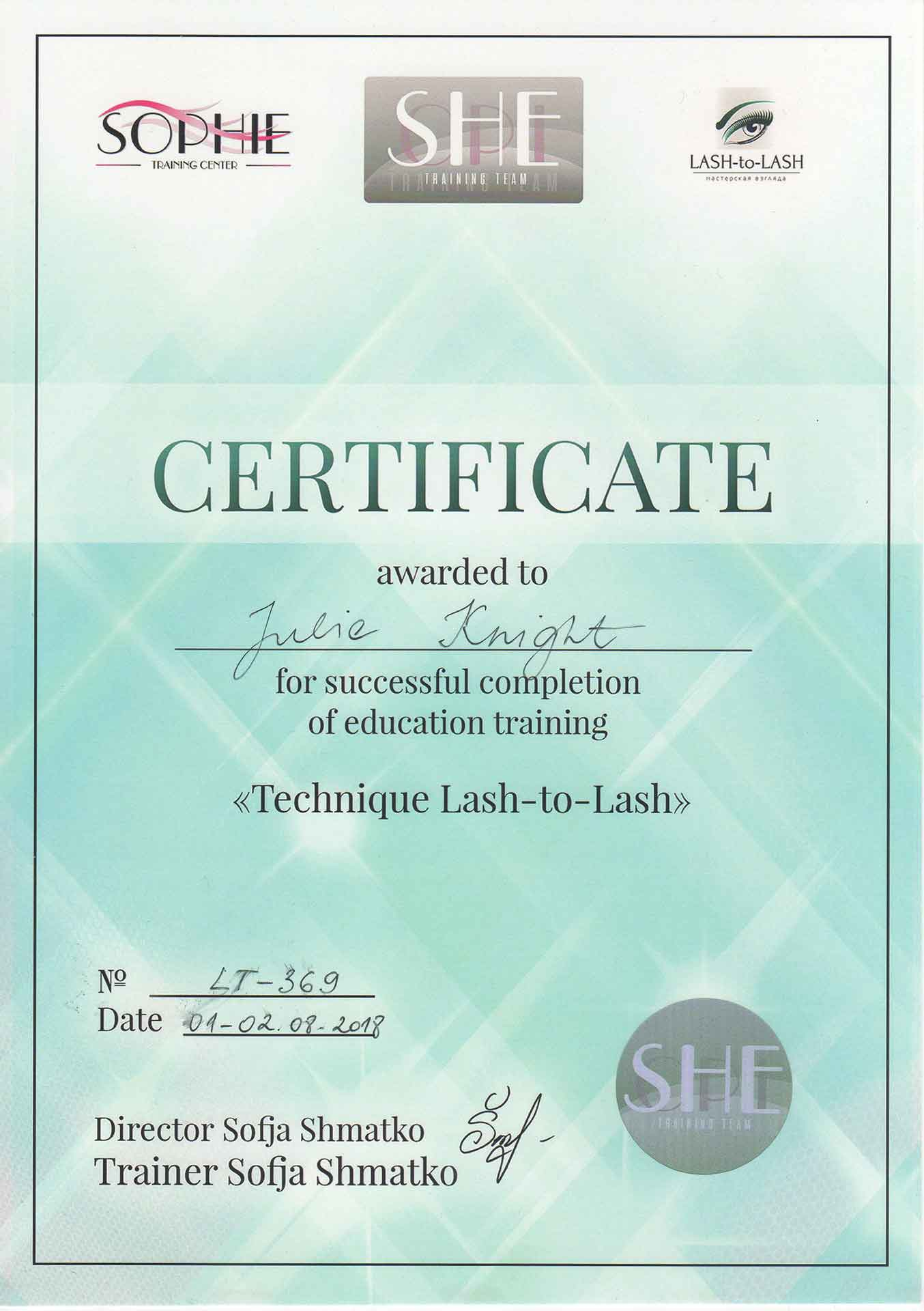 Julie-Knight-Sophie-Lash-To-Lash-Technique-Certificate