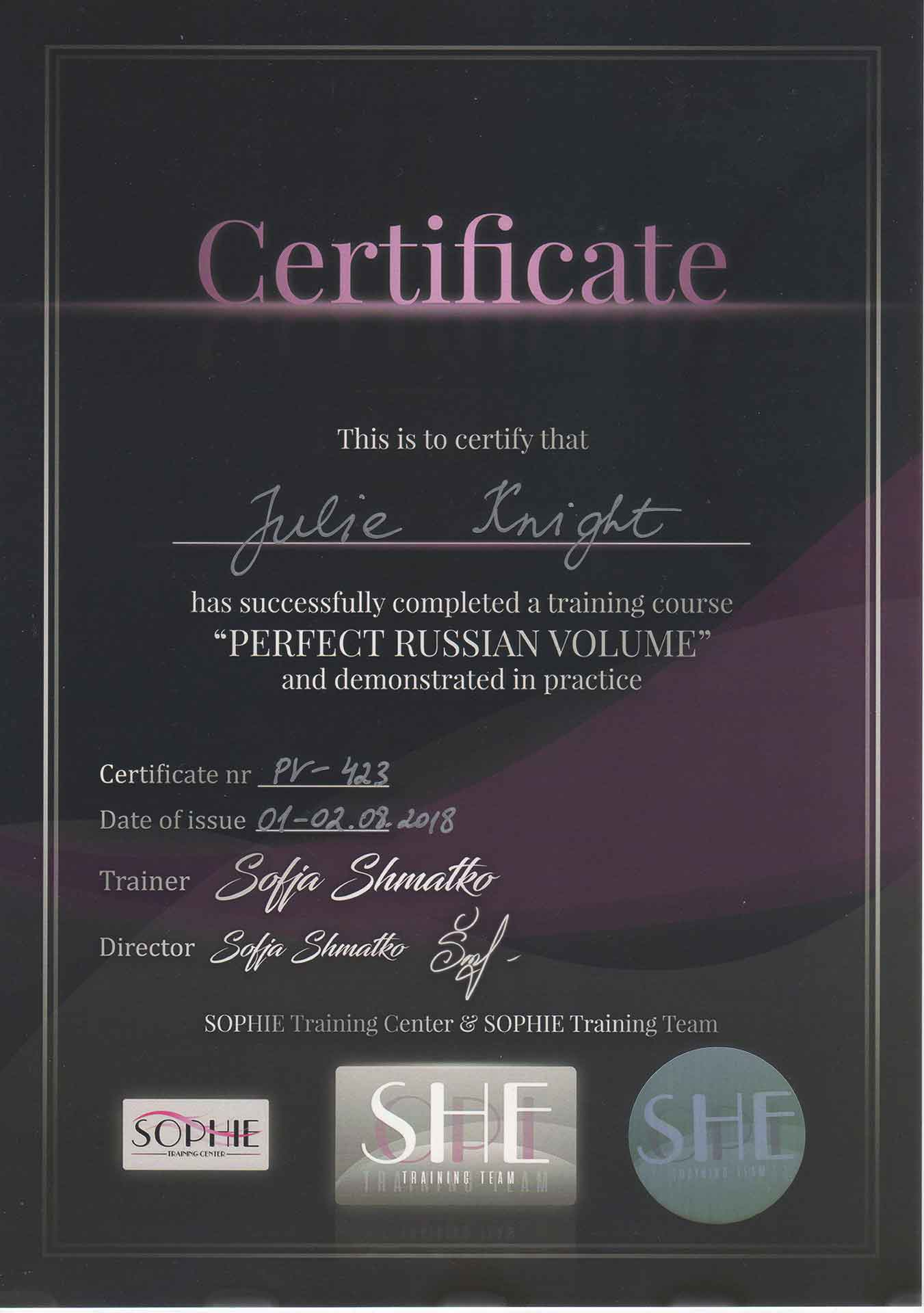Julie-Knight-Sophie-Perfect-Russian-Volume-Certificate